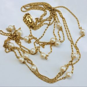 Monet pearl gold 3 layer necklace chain